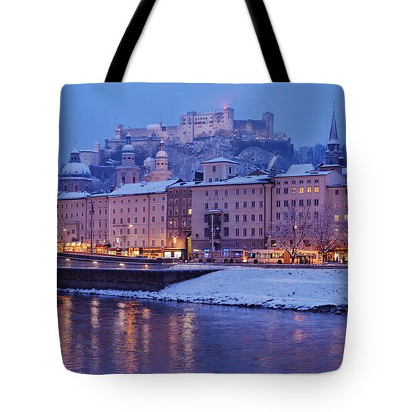 Panorama Of Salzburg In The Winter Tote Bag by Sabine Jacobs