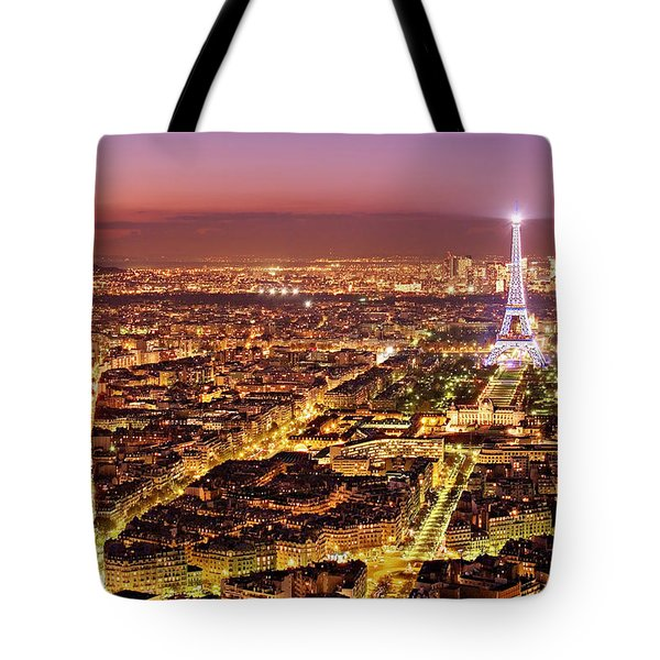 Paris Cityscape At Night / Paris Tote Bag