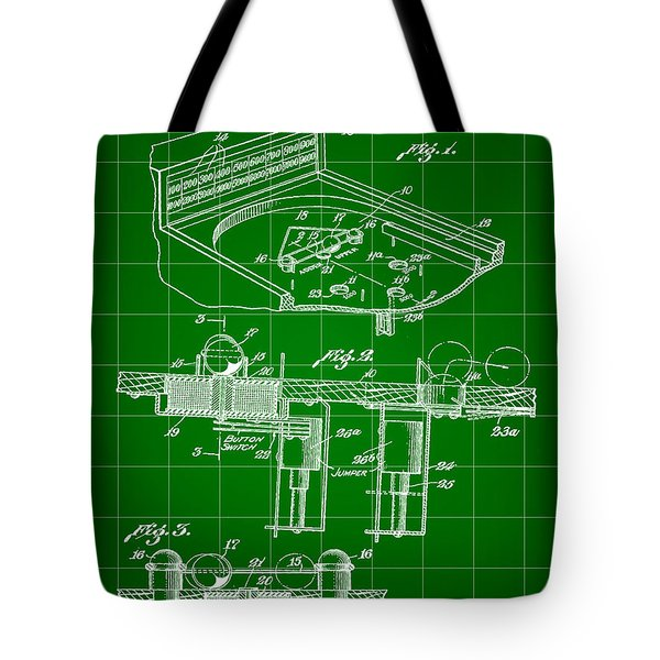 Pinball Machine Patent 1939 - Green Tote Bag by Stephen Younts