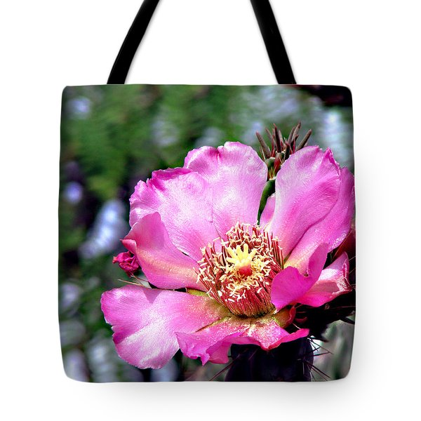 Pink Cactus Flower Tote Bag by Linda Cox