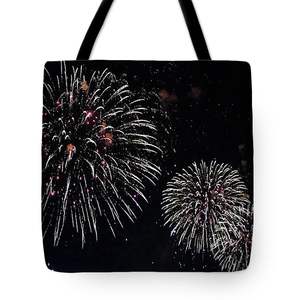 Tote Bag featuring the photograph Pink Fireworks by Lilliana Mendez
