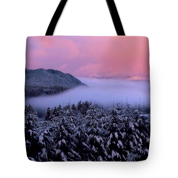 Pink Sunrise With Foggy River Tote Bag by Katie Wing Vigil