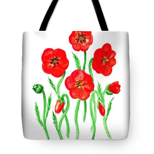 Poppies Tote Bag by Irina Sztukowski