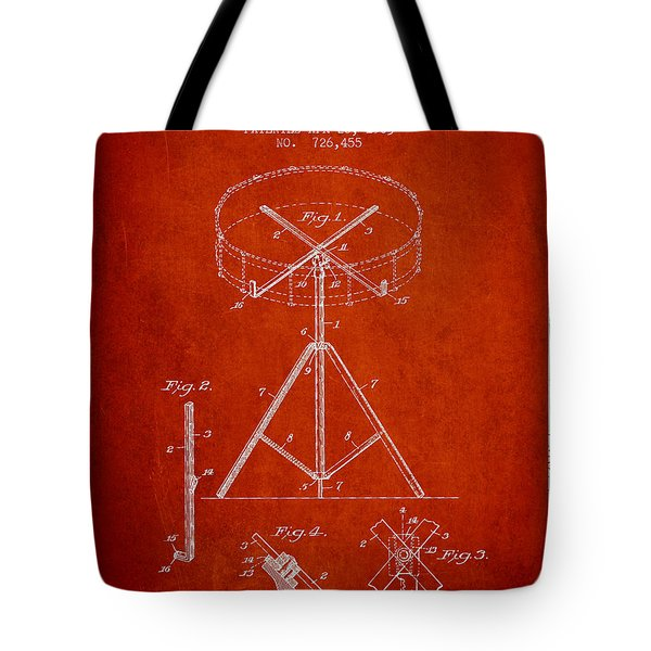 Portable Drum Patent Drawing From 1903 - Red Tote Bag