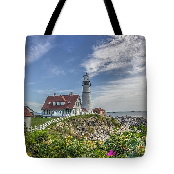 Tote Bag featuring the photograph Portland Headlight by Jane Luxton
