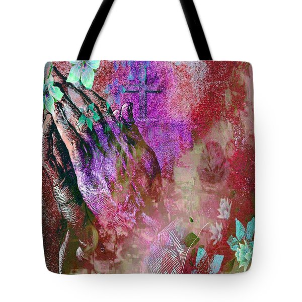 Praying Hands Flowers And Cross Tote Bag
