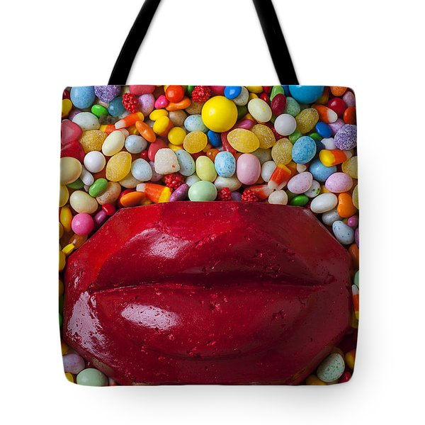 Red Lips With Candy Tote Bag by Garry Gay