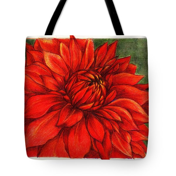 Red Mums Tote Bag by Rae Chichilnitsky