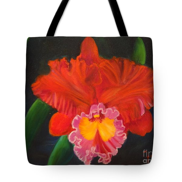 Tote Bag featuring the painting Red Orchid by Jenny Lee