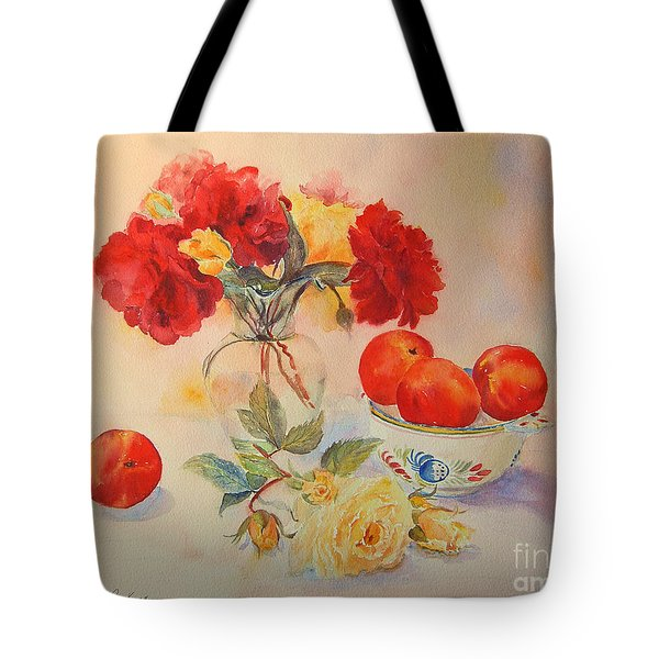 Tote Bag featuring the painting Red Roses Jazz by Beatrice Cloake