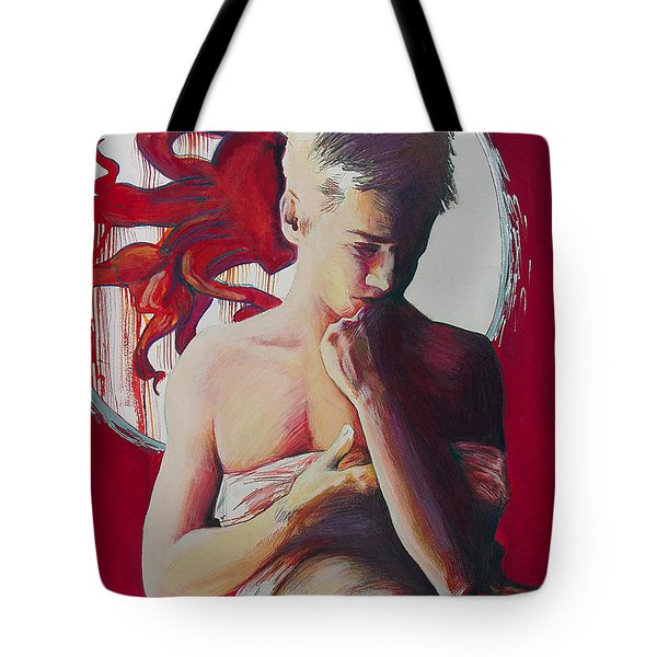 Red Snap Dragon Moonset Tote Bag