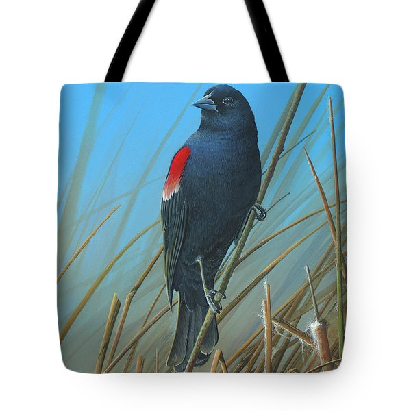 Tote Bag featuring the painting Red-winged Black Bird by Mike Brown