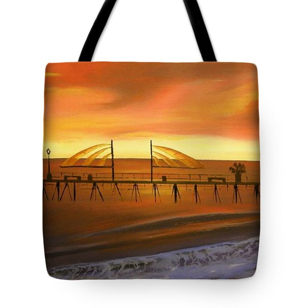 Redondo Beach Pier At Sunset Tote Bag by Bev Conover