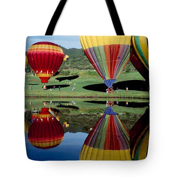 Reflection Of Hot Air Balloons Tote Bag