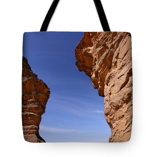 Rock Formations In The Akakus Mountains In The Sahara Desert Tote Bag by Robert Preston