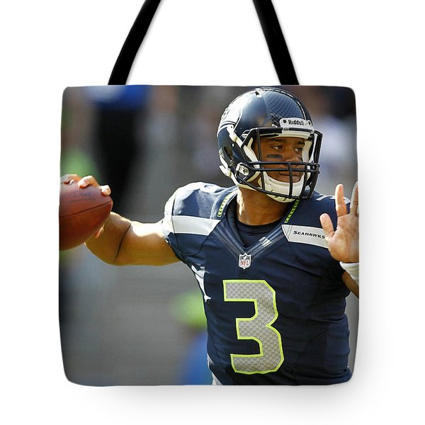 Russell Wilson Tote Bag by Marvin Blaine