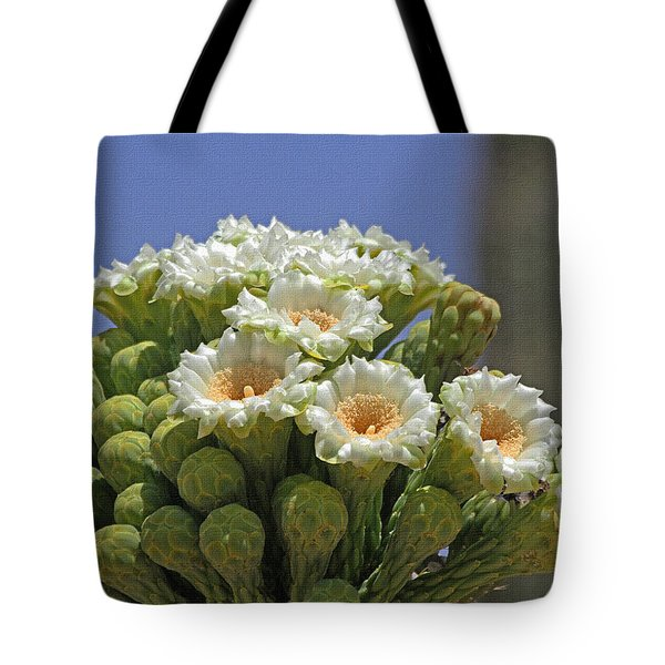 Saguaro Flower And Buds  Tote Bag by Tom Janca