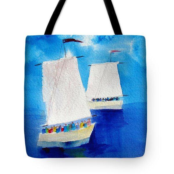 2 Sailboats Tote Bag