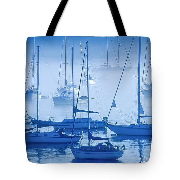 Tote Bag featuring the photograph Sailboats In The Fog - Maine by David Perry Lawrence