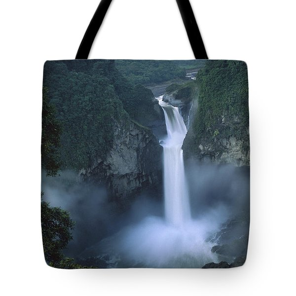 San Rafael Falls On The Quijos River Tote Bag by Pete Oxford