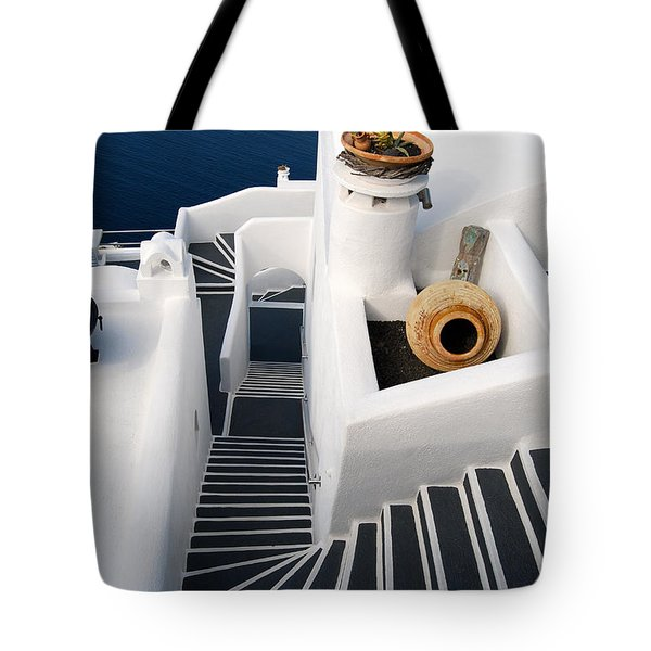 Santorini Steps Tote Bag by Eva Kaufman