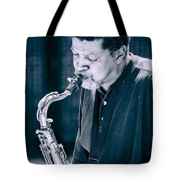 Saxophone Player 2 Tote Bag by Carolyn Marshall