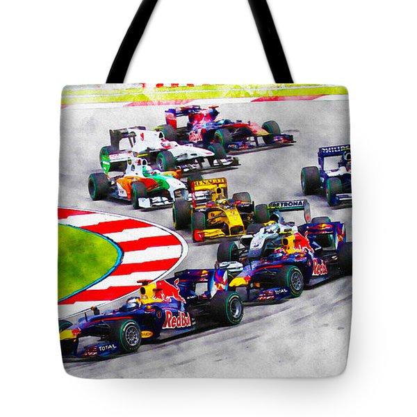 Sebastian Vettel Leads The Pack Tote Bag