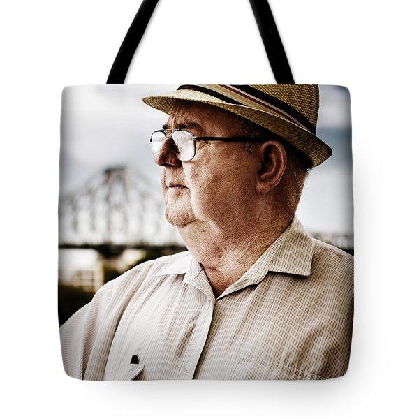 Senior Man Looking To Future Tote Bag