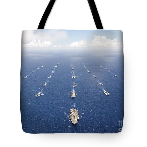 Ships And Submarines Participating Tote Bag by Stocktrek Images