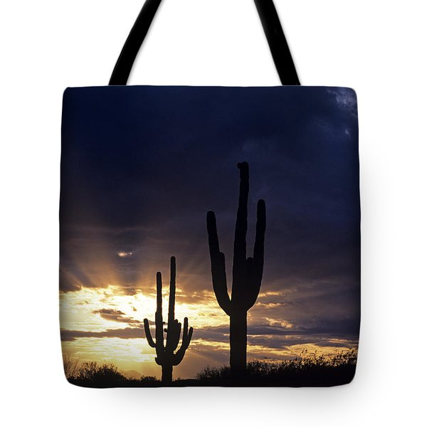 Silhouetted Saguaro Cactus Sunset At Dusk Arizona State Usa Tote Bag