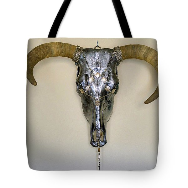 Silver And Black Illuminating Bull Skull Tote Bag