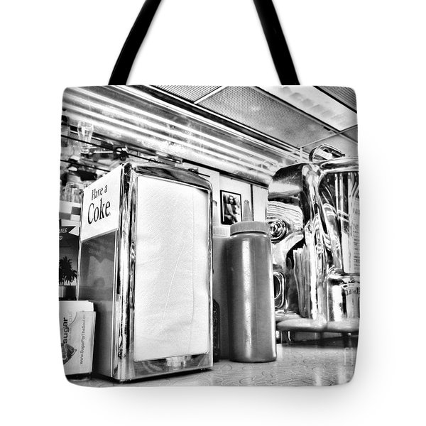Sitting At The Counter Tote Bag by Peggy Hughes