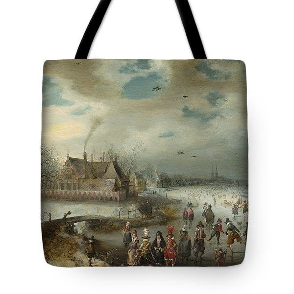 Skating On The Frozen Amstel River Tote Bag by Celestial Images
