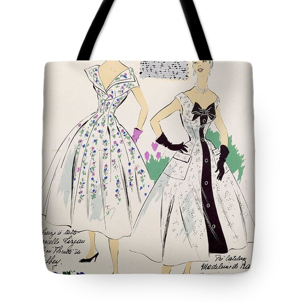 Vintage Fashion Sketches And Fabric Swatches Tote Bag