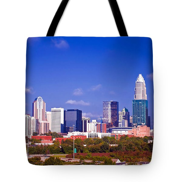 Skyline Of Uptown Charlotte North Carolina At Night Tote Bag by Alex Grichenko