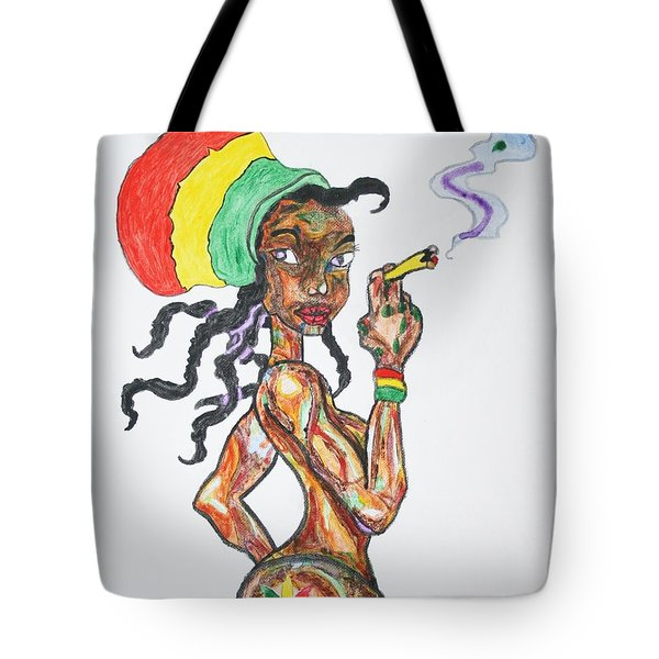 Tote Bag featuring the painting Smoking Rasta Girl by Stormm Bradshaw