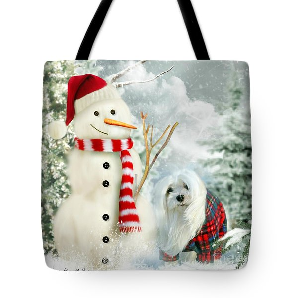 Tote Bag featuring the mixed media Snowdrop And The Snowman by Morag Bates
