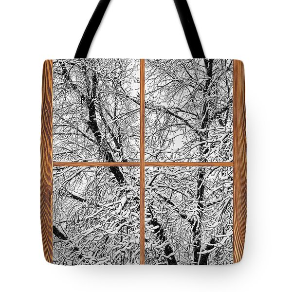 Snowy Tree Branches Barn Wood Picture Window Frame View Tote Bag by James BO  Insogna