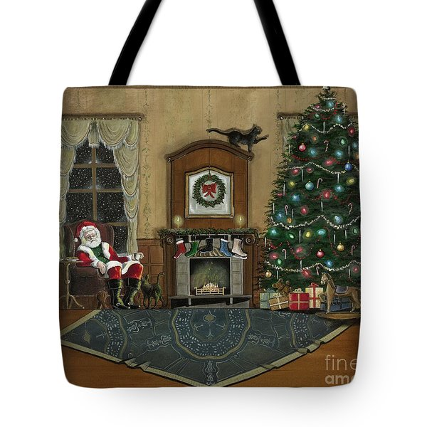 St. Nicholas Sitting In A Chair On Christmas Eve Tote Bag by John Lyes