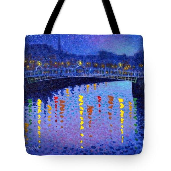 Starry Night In Dublin Tote Bag by John  Nolan