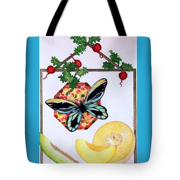 Tote Bag featuring the painting Still Life With Moth #3 by Thomas Gronowski