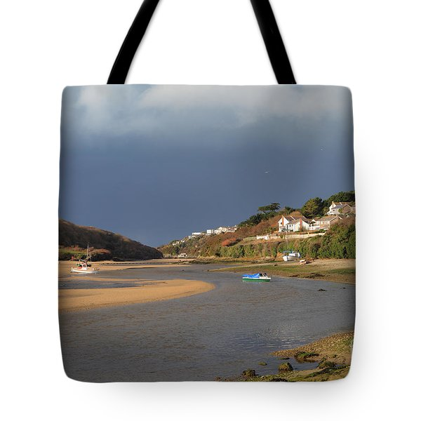 Tote Bag featuring the photograph Storm Approaches The Gannel Estuary Newquay Cornwall by Nicholas Burningham