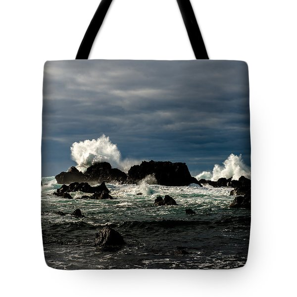 Stormy Seas And Spray Under Dark Skies  Tote Bag