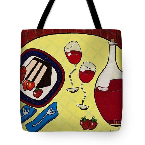 Strawberry Wine Tote Bag by Barbara McMahon