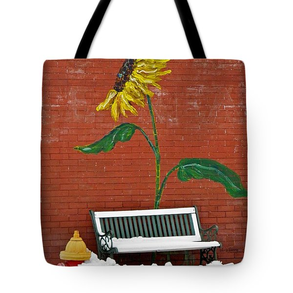 Sunflower And Snow Tote Bag by Chris Berry