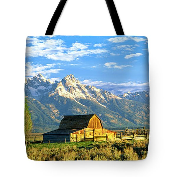 Sunrise Over The Moulton Barn Tote Bag