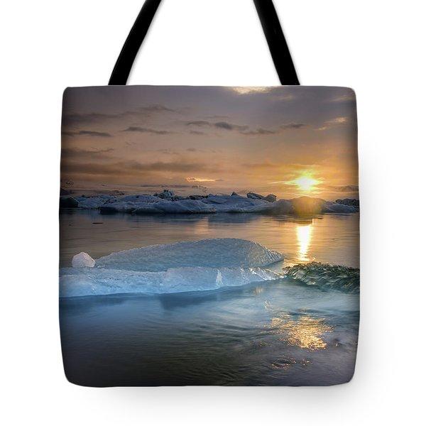 Sunset Over Glacier Bay In Iceland Tote Bag