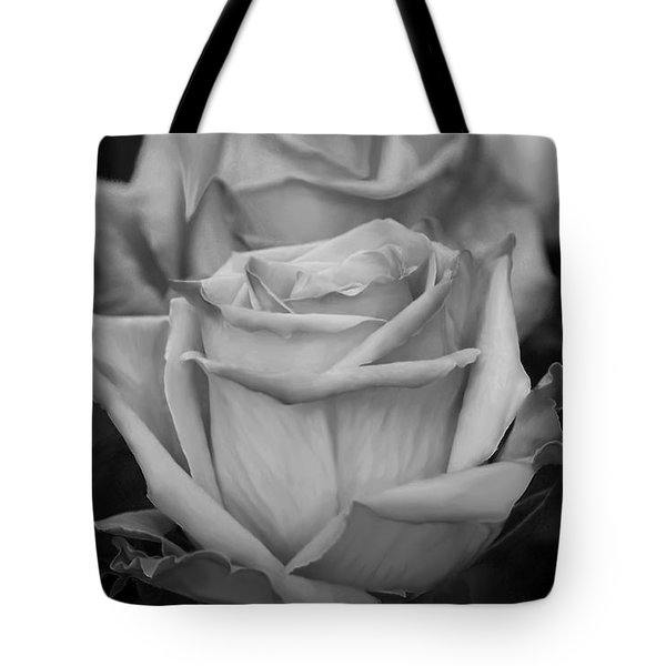 Tea Roses In Black And White Tote Bag