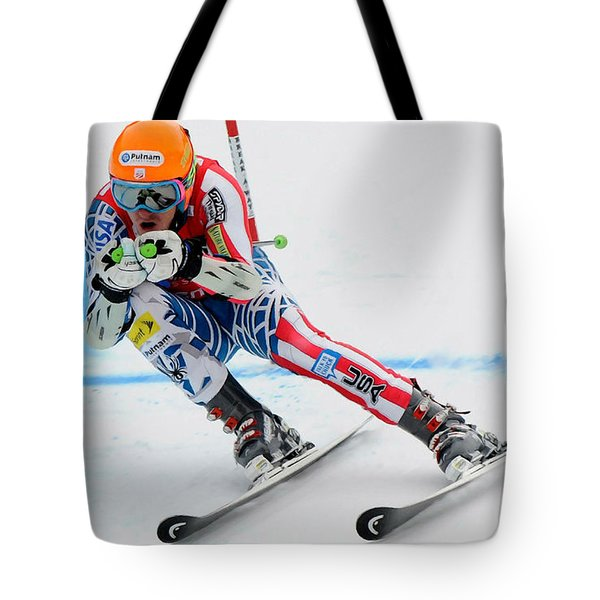 Ted Ligety Skiing  Tote Bag by Lanjee Chee