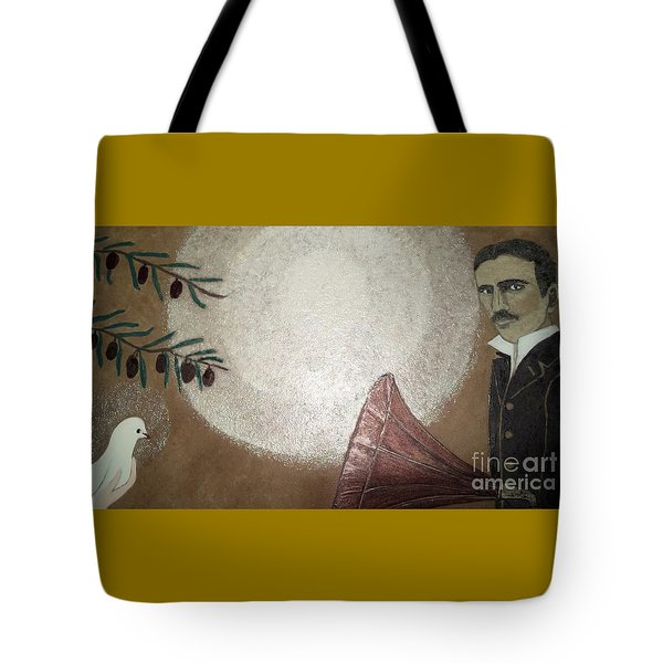 Tote Bag featuring the painting Tesla And White Dove by Jasna Gopic